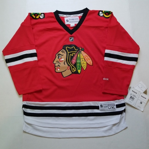 online store b7e64 051f4 Reebook Chicago Blackhawks Premier Red Jersey L XL
